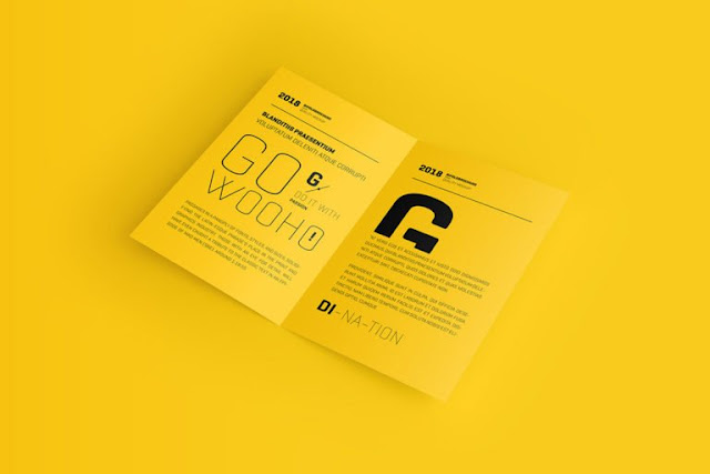 موك اب فولـدر مفتوح قابل للتعديل بصيغة psd Free US Letter Bifold Brochure Mockup - بلال ارت