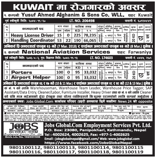 Jobs in Kuwait for Nepali, Salary Rs 78,235