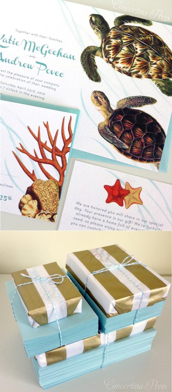 Sea Turtle Beach Wedding Invitations from Concertina Press