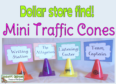 These mini traffic cone from the dollar store make the cutest sign holder.  All you do is cut a small slit in the top and then they can hold small signs.  Perfect for tables and center areas.