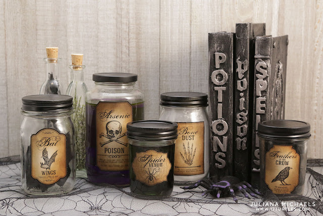 Halloween Apothecary Bottles from recycled glass jars by Juliana Michaels