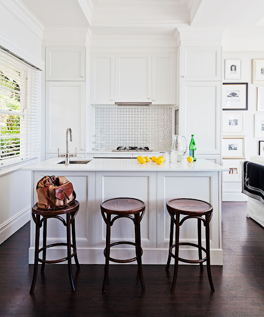 in the kitchen mouldings, taps and tiles – predominately white – {Cool Chic Style Fashion}