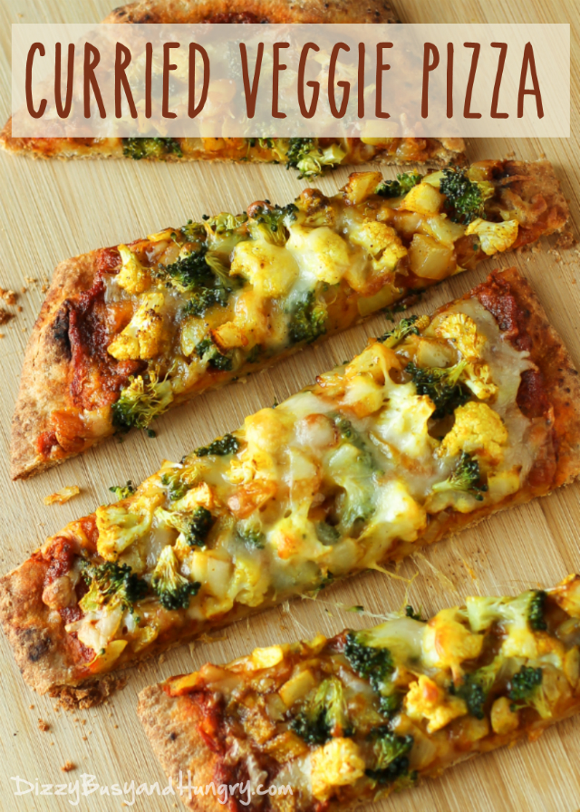 Pizza topped with curried vegetables and cheese.  A great non meat option.