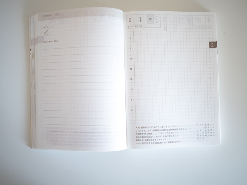 Kalenderseite Hobonichi Techo 2018