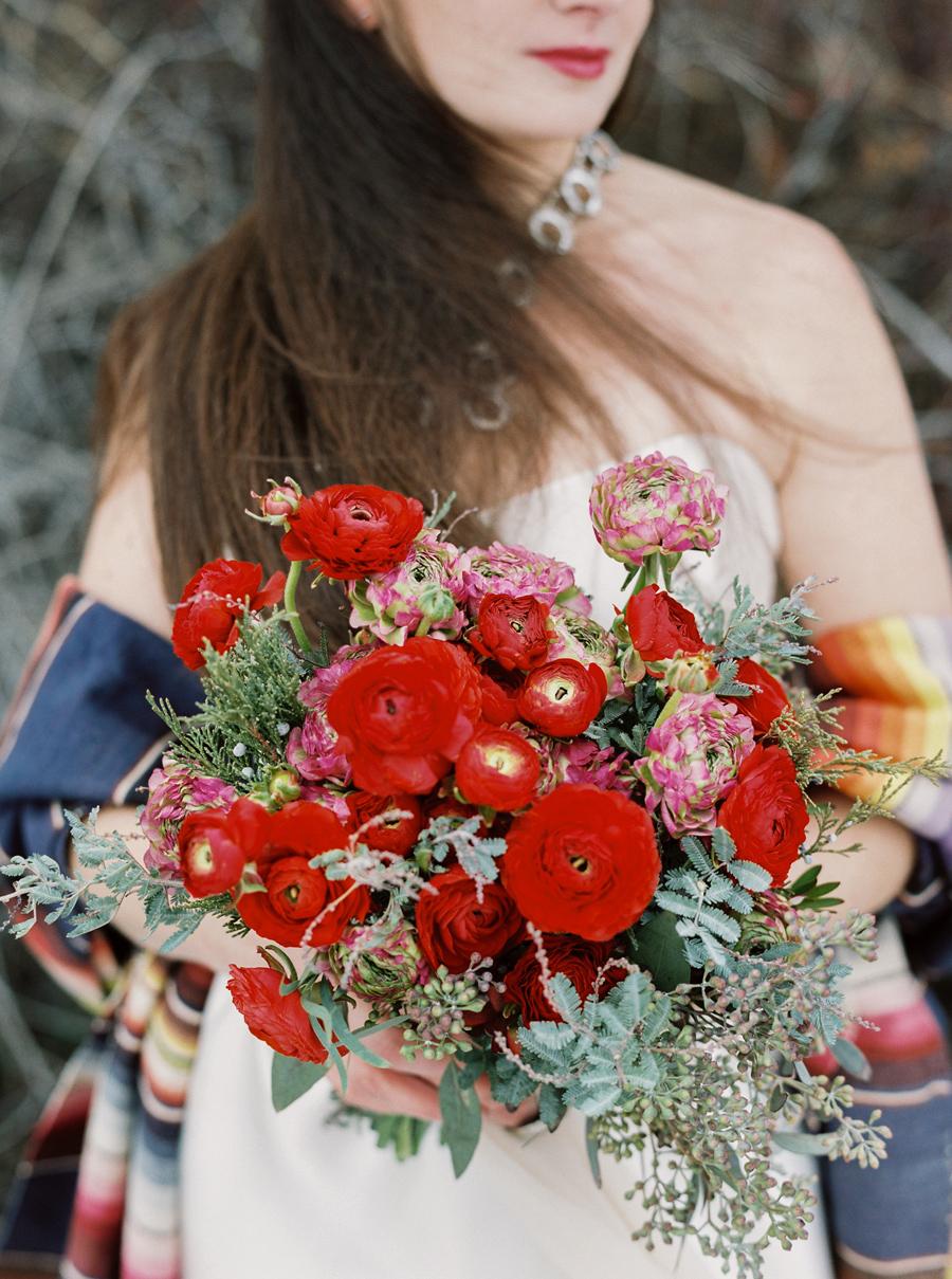 Red Ranunculus / Photography: Orange Photographie / Styling & Flowers: Katalin Green / Hair & Makeup: Alexa Mae / Dress: Coren Moore / Hat & Serape: Vintage / Necklace & Ring: Mountainside Designs / Location: Bozeman, MT
