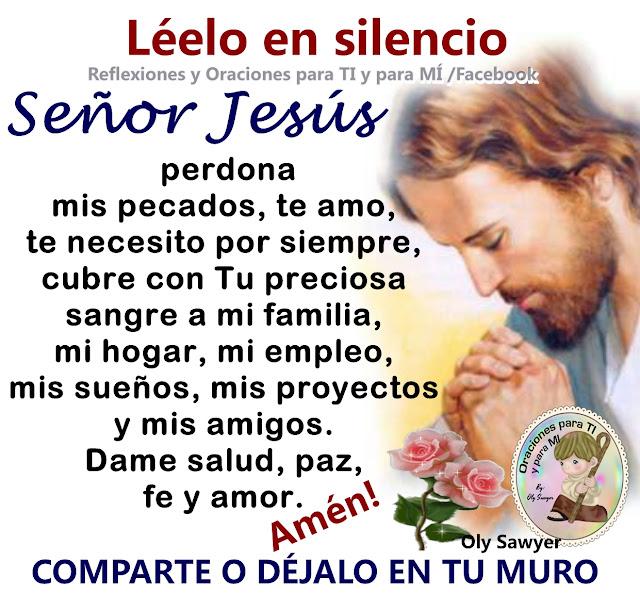SEÑOR JESÚS Perdona mis pecados. Te amo, te necesito por siempre. Cubre con Tu preciosa sangre a mi familia, mi hogar, mi empleo, mis sueños, mis proyectos y mis amigos.