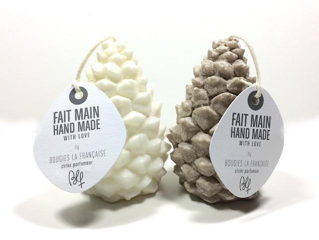 BOUGIES LA FRANÇAISE  Duo de Bougies parfumées Pomme de Pin blanc et beige