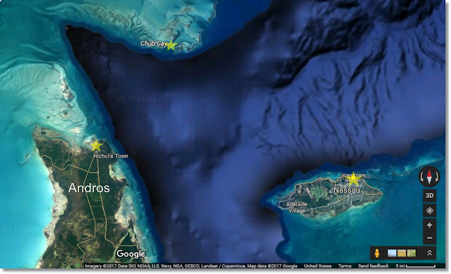 Map of ocean terrain between New Providence, Andros and Chub Cay.