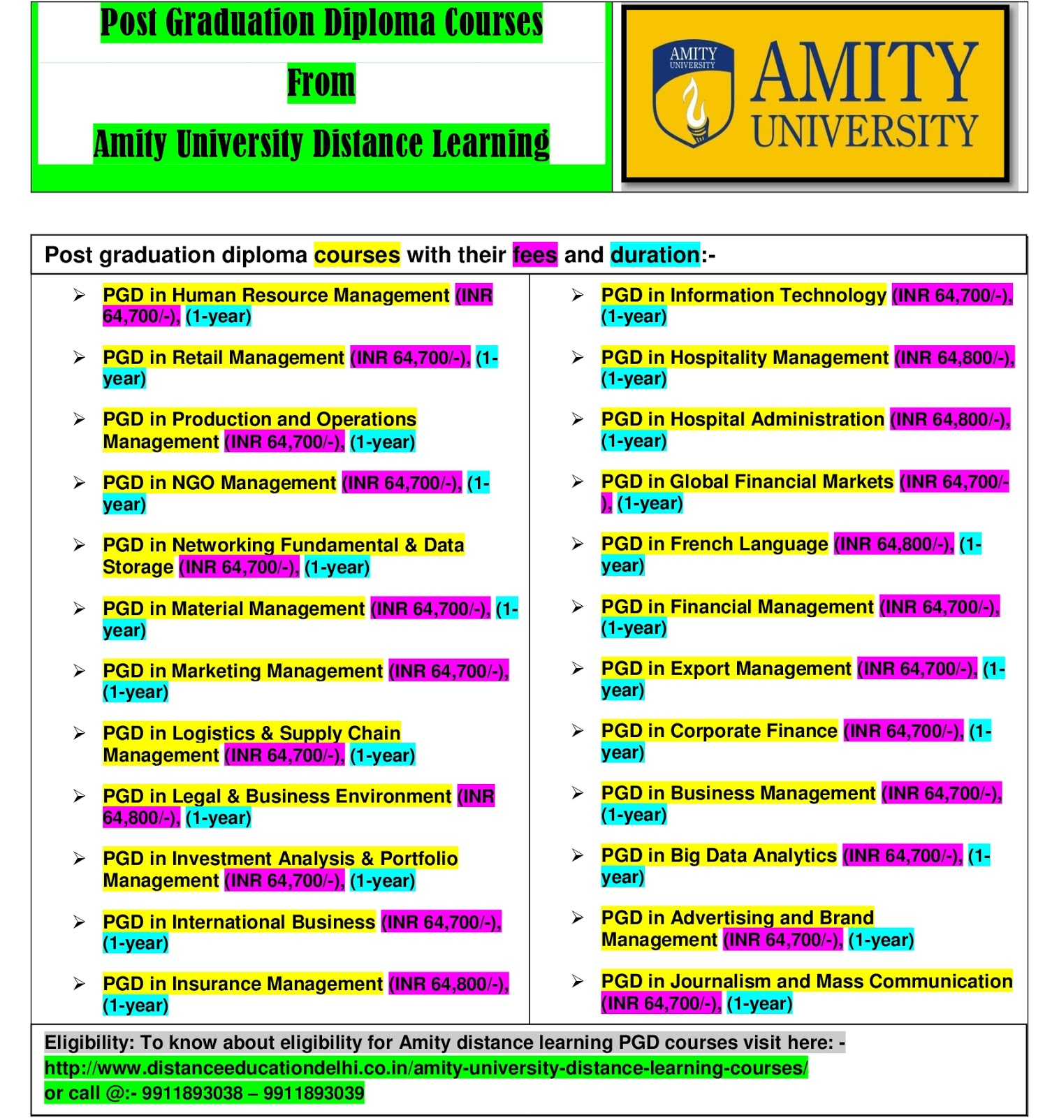 Post graduation diploma courses from amity university distance learning