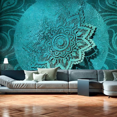 3D wallpaper design for living room with painting art