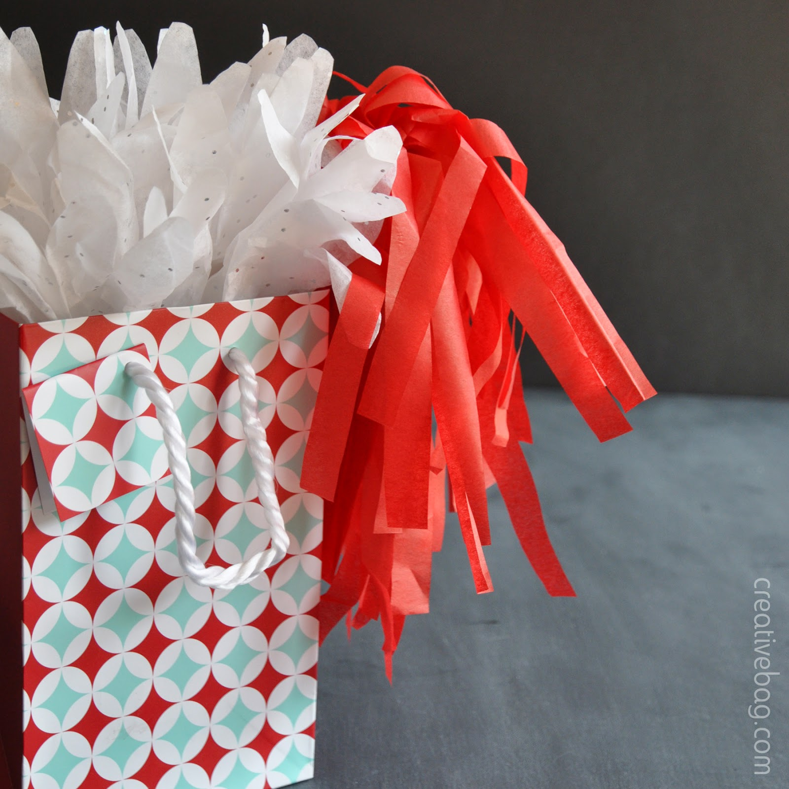 diy tissue paper gift toppers by Lorrie Everitt from Creative Bag