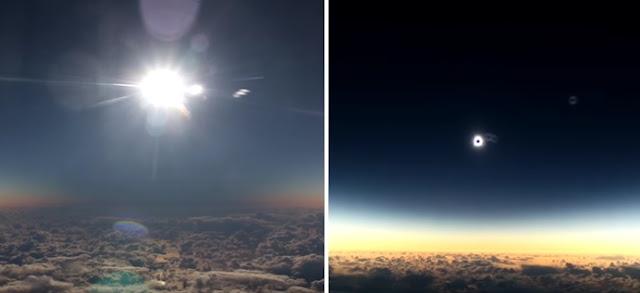 Masya Allah, Begini Penampakan Gerhana Matahari Direkam dari Pesawat Terbang