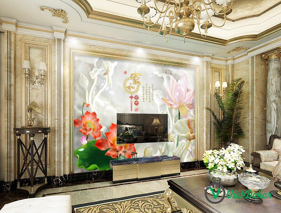 Tranh dán tường 3d hoa sen ngọc trang trí