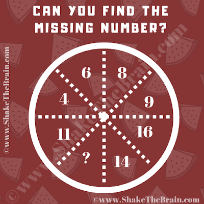In this Missing Number Brain Teaser, your task is to find the missing number