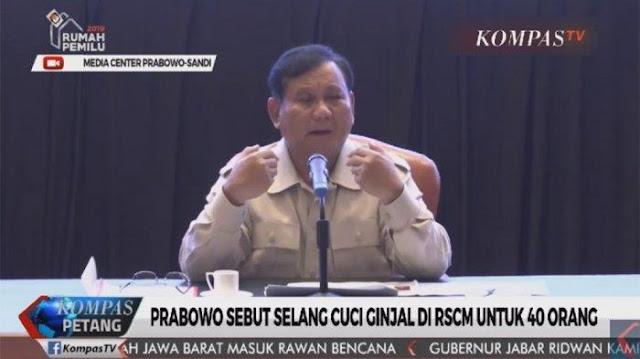 Heboh Pidato Prabowo Sebut Selang Cuci Darah di RSCM Untuk 40 Orang