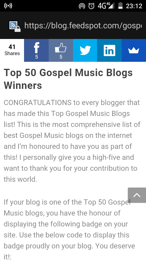 4WARDGOSPEL LISTED AMONG TOP 50 GOSPEL MUSIC BLOGS ON THE