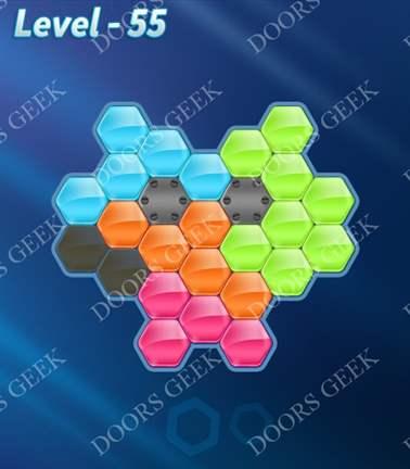 Block! Hexa Puzzle [5 Mania] Level 55 Solution, Cheats, Walkthrough for android, iphone, ipad, ipod