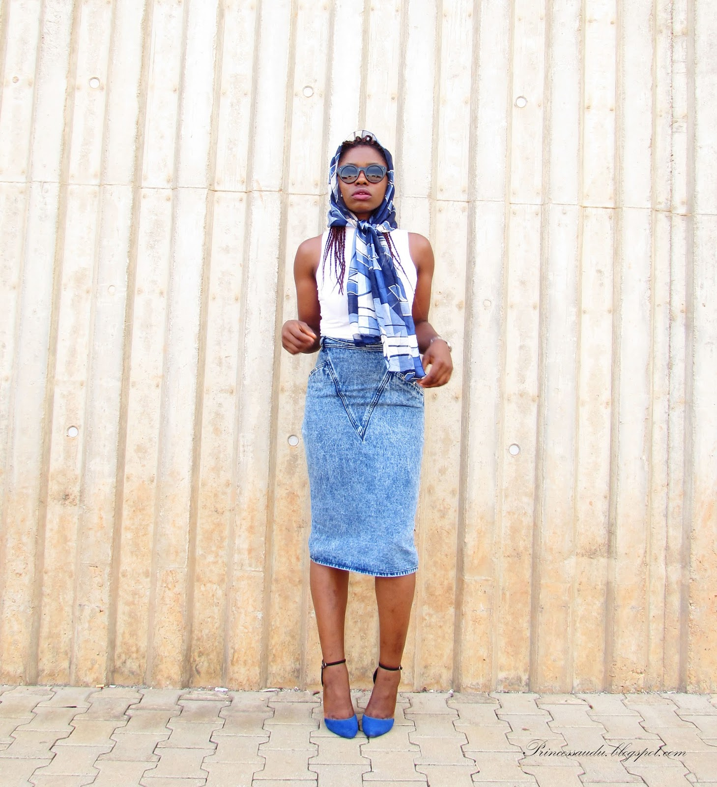 denim skirt, ways to rock a scarf, vintage, shades of blue, ankle strap heels, pencil skirt