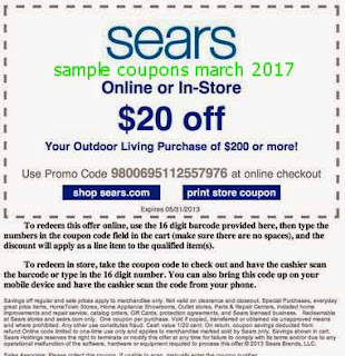 free Sears coupons march 2017