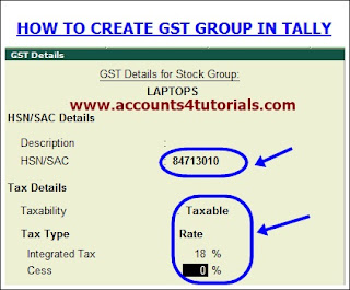 how to create gst stock groups in tally