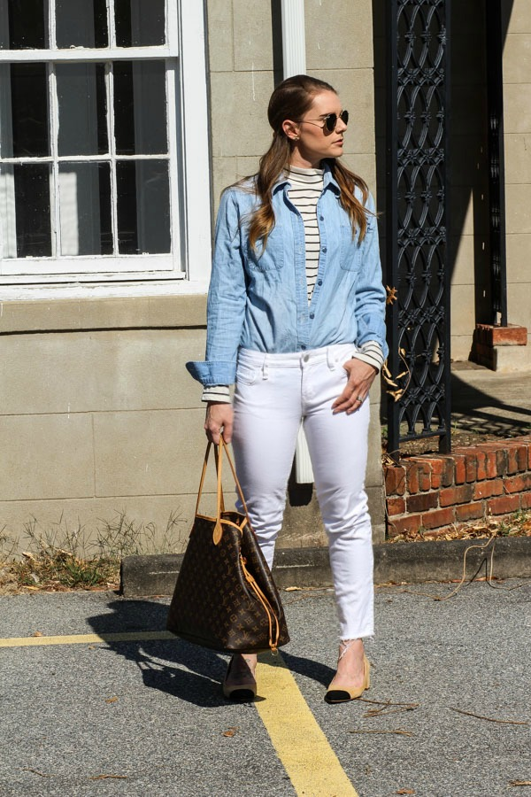 Layers and white denim