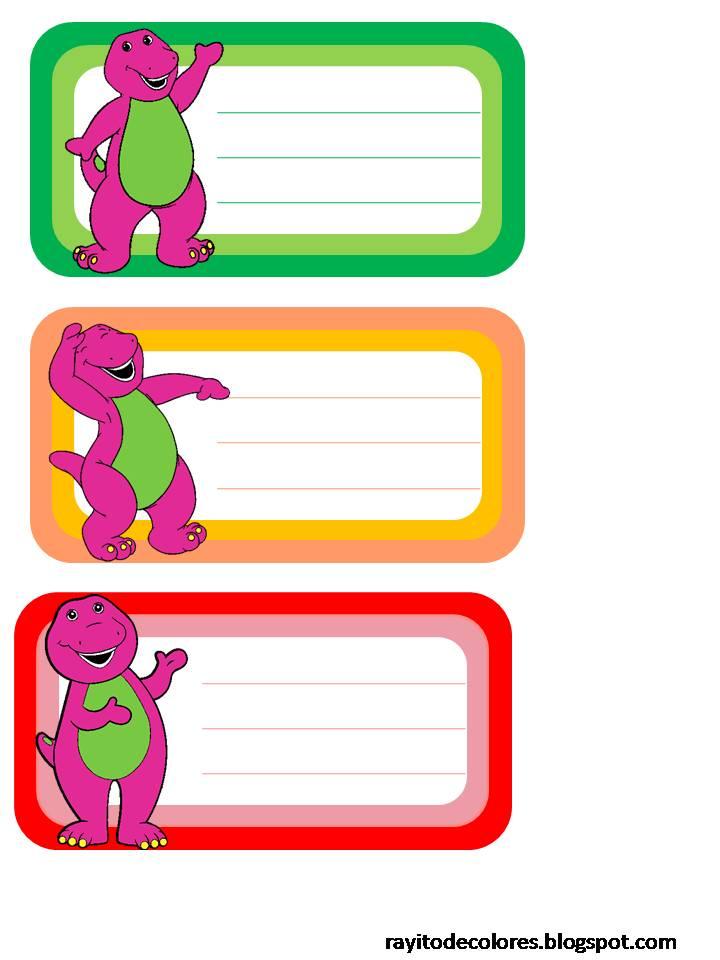 Etiquetas escolares de Barney