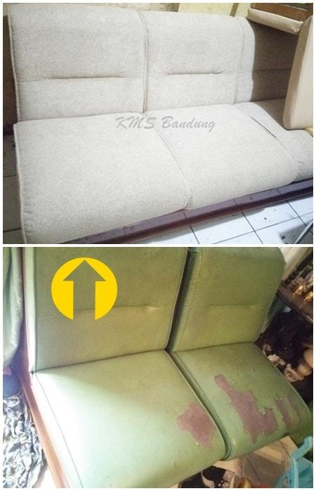 Sebelum dan sesudah perbaikan sofa ruangan