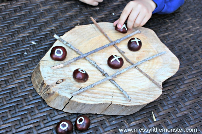 Conker crafts - naughts and crosses diy games for kids