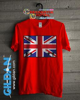 Baju Kaos Distro The Beatles Dan Bendera Inggris Warna Orange