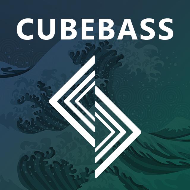 Imagen con el logotipo de Cubebass y las letras Cubebass en blanco