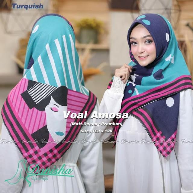Jilbab Terbaru Segiempat Voal Amosa Original Trendy Warna Biru