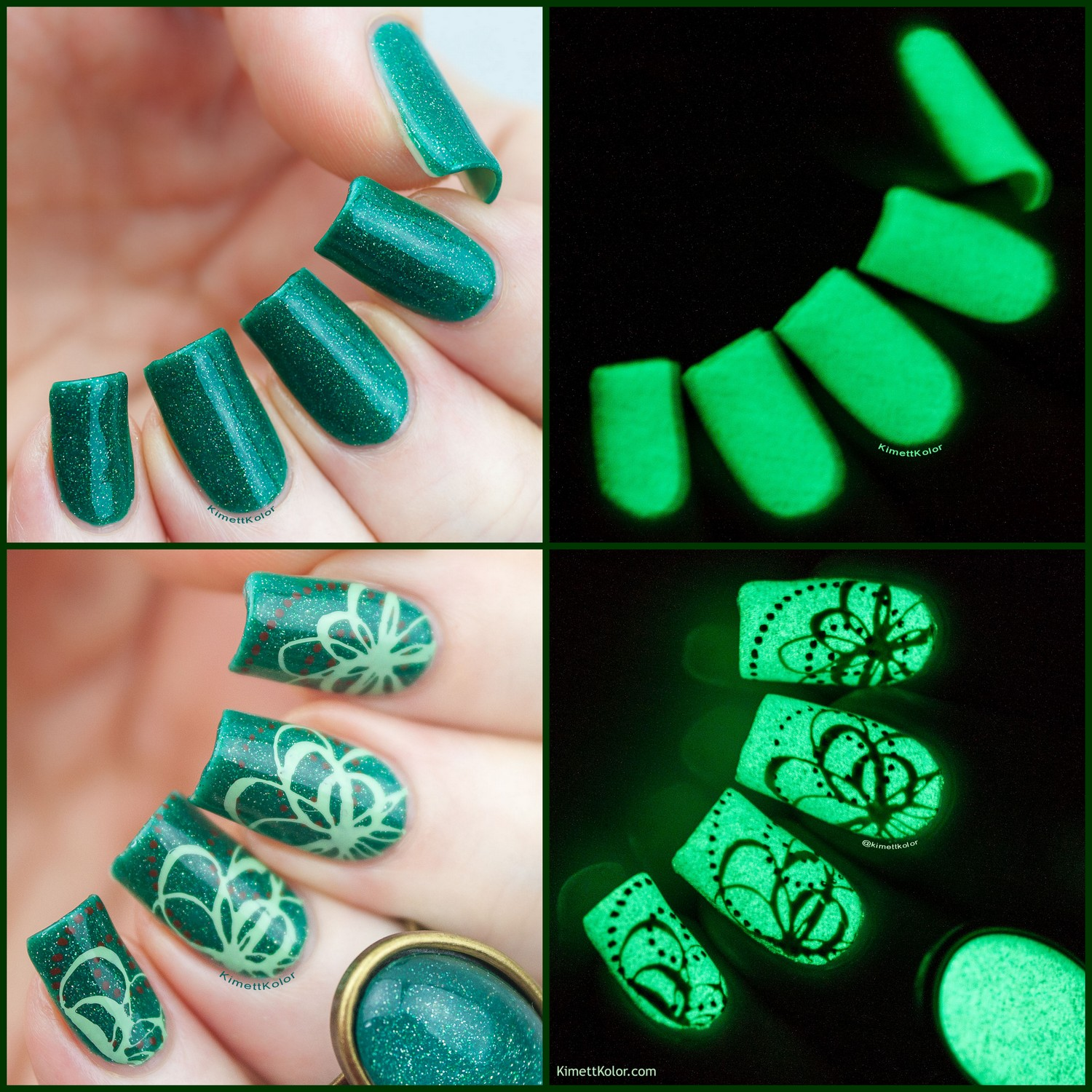 KimettKolor Glow-In-The-Dark Polish with Stamping