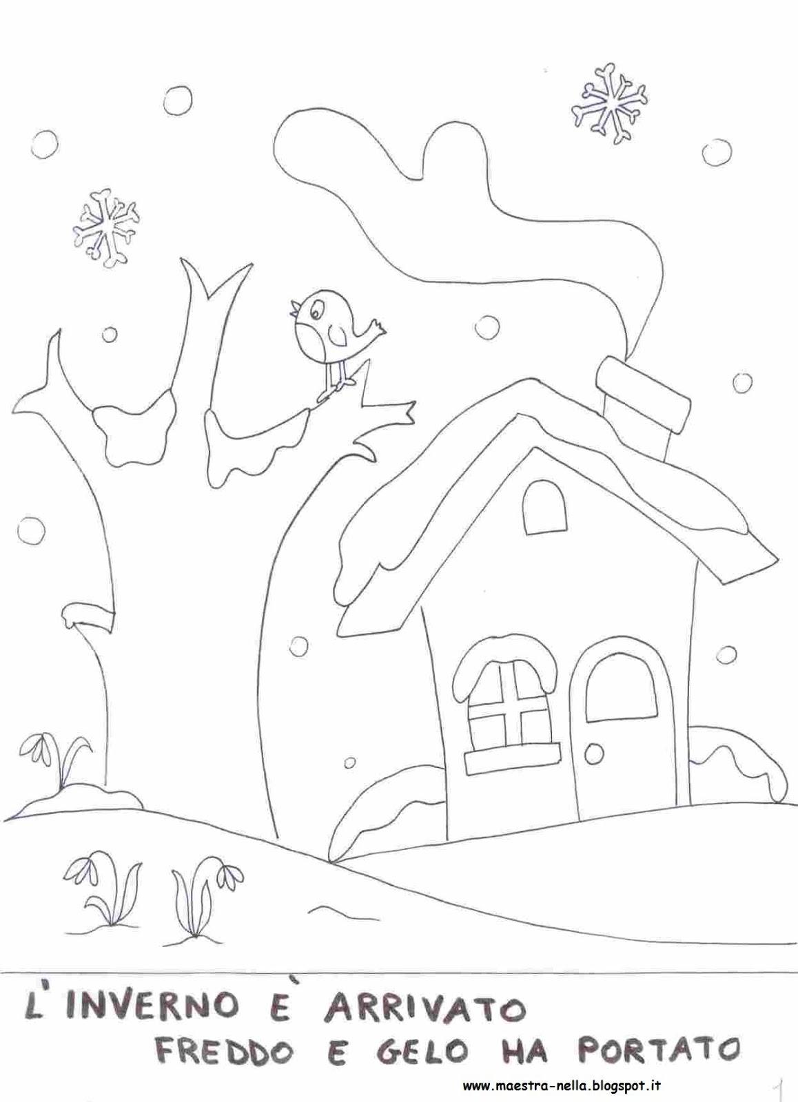 Paesaggio autunnale da colorare per bambini for Paesaggio invernale da colorare