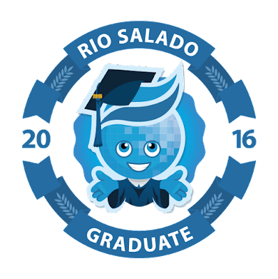 Mascot splash in the center, wearing graduation outfit.  Text: Rio Salado 2016 Graduate