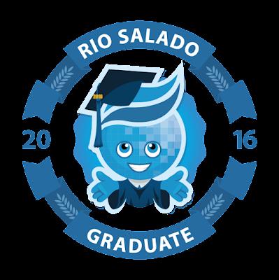 Mascot splash in the center, wearing graduation outfit.  Text: Rio Salado 2016 Graduate