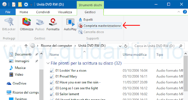 Windows 10 completa masterizzazione