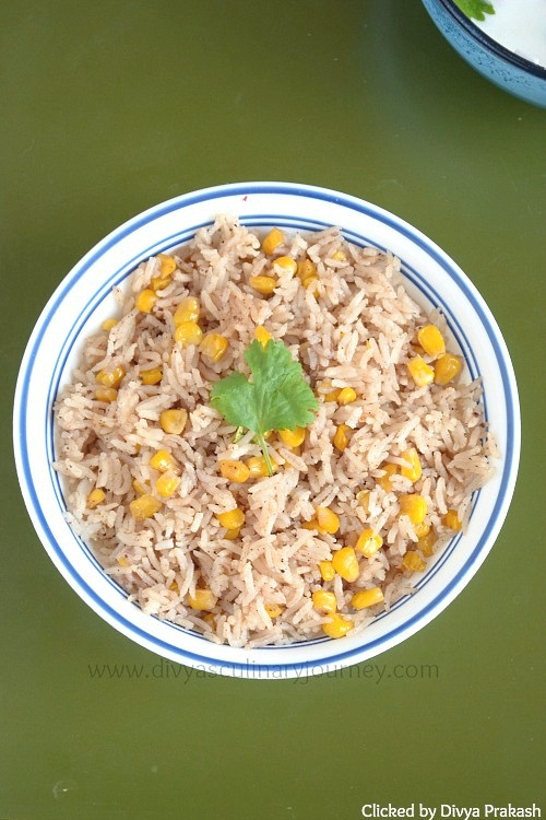 Pulao made with sweet corn kernels