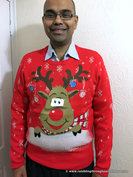 M wearing his new Christmas jumper