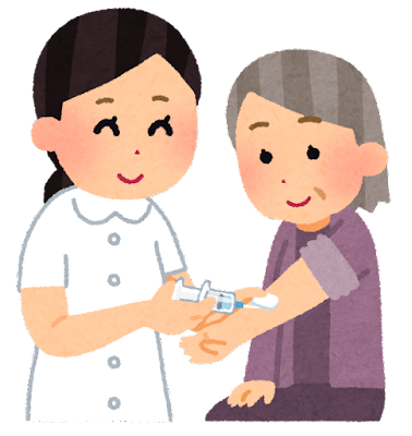 注射を受ける人のイラスト(おばあさん)