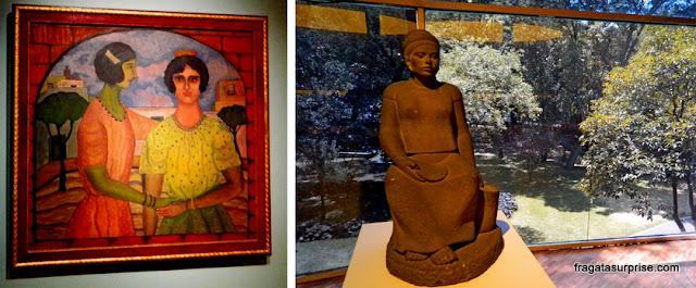 """""""Lupe e Maria"""", tela de Abraham Ángel e """"Vendedora de Tortilhas"""", escultura de Alberto de la Vega, Museu de Arte Moderna do México"""