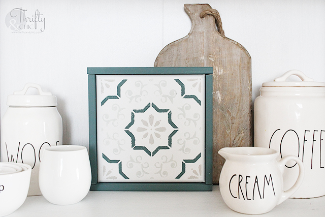DIY Stenciled tile tutorial. How to stencil tile. DIY cement tile stenciling. Canvas stenciled tile decor
