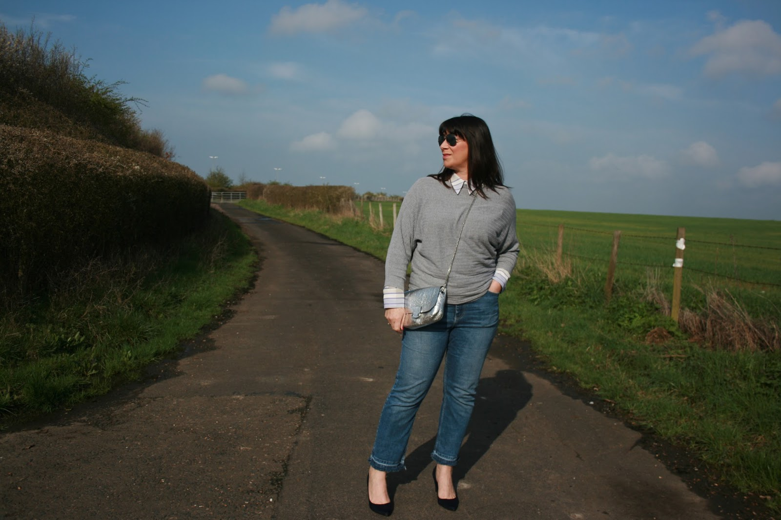 Over 50s blogger Jacqui Berry from Mummabstylish styles a white and lilac blouse three ways, along with blogger Gail Hanlon from Is This Mutton?