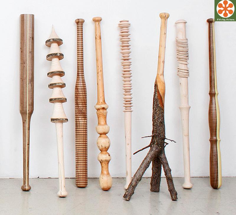 hand carved baseball bats