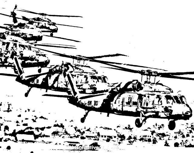 Black Hawk Helicopters Coloring Pages for Teenage Boys