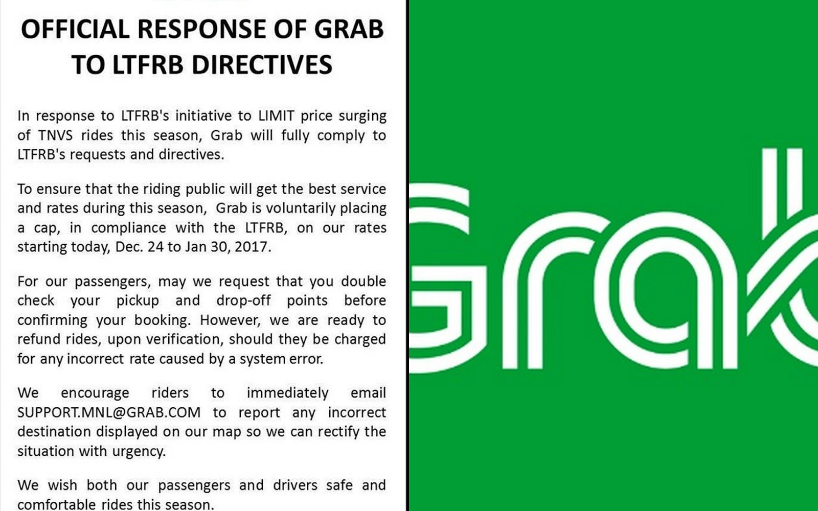LTFRB warns both UBER and GRAB Taxi services due to