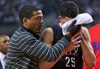 Austin Rivers' face is bloodied in Game 6 against Blazers