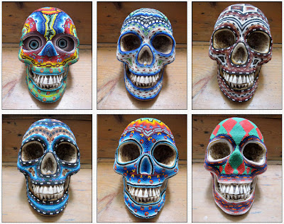 Psychedelic skulls made by Mexico's Huichol Indians