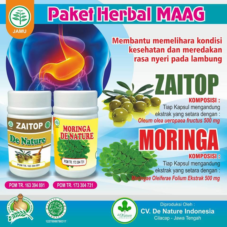 Kapsul Moringa dan Zaitop Obat Maag de Nature