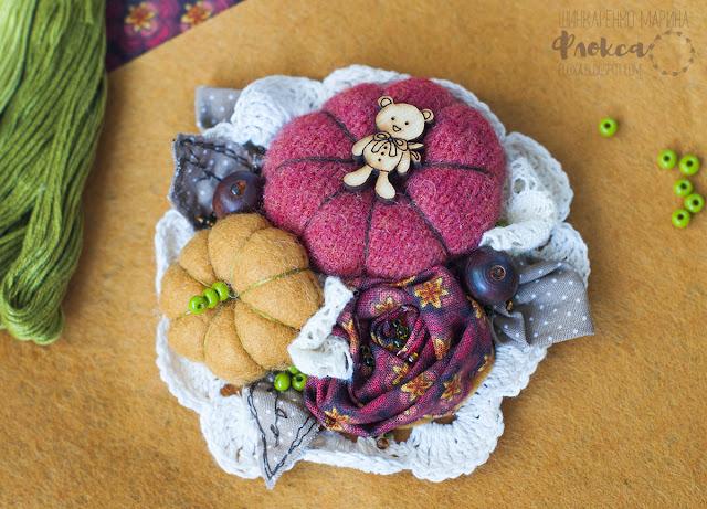 текстиль цветы розы тыквы мишка вязанная салфетка
