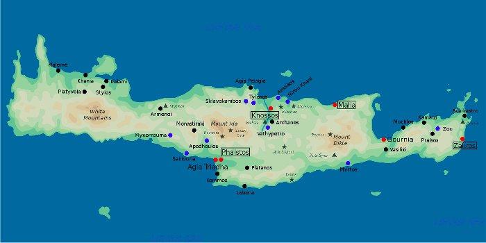 Cartina geografica di Creta con spiagge, località e attrazioni